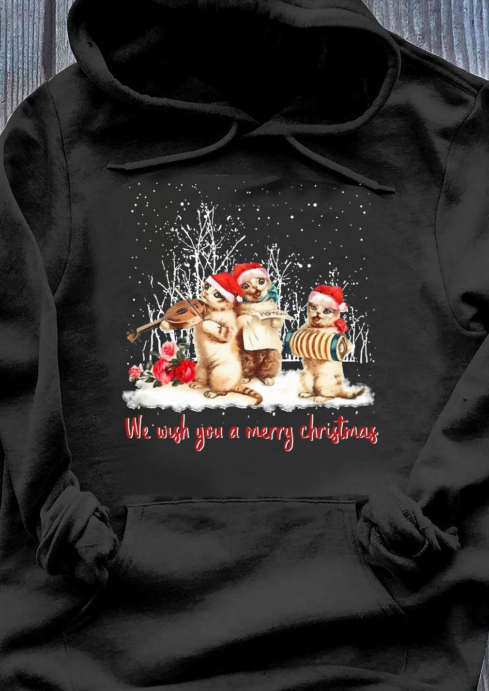 Santa Cats We Wish You A Merry Christmas Shirt Hoodie