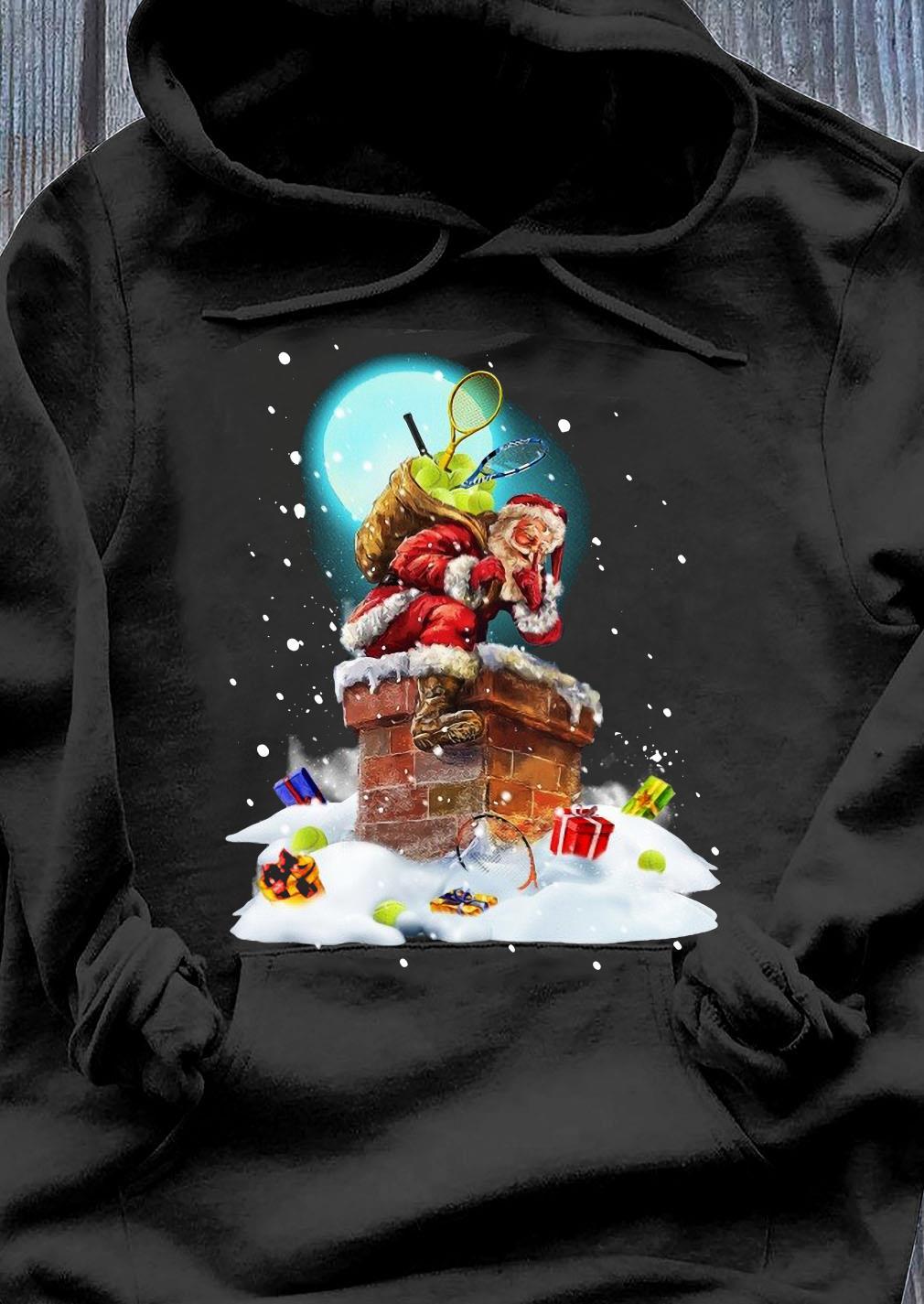 Santa Claus With Tennis Climbs The Chimney Crewneck Sweats Hoodie