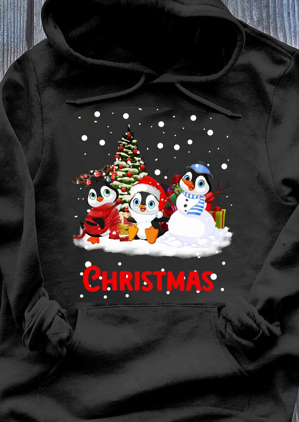 Santa Penguins Christmas Tree Shirt Hoodie
