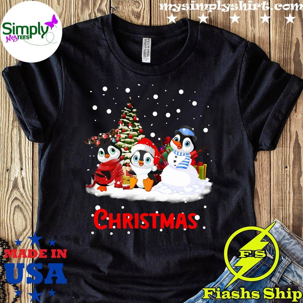 Santa Penguins Christmas Tree Shirt