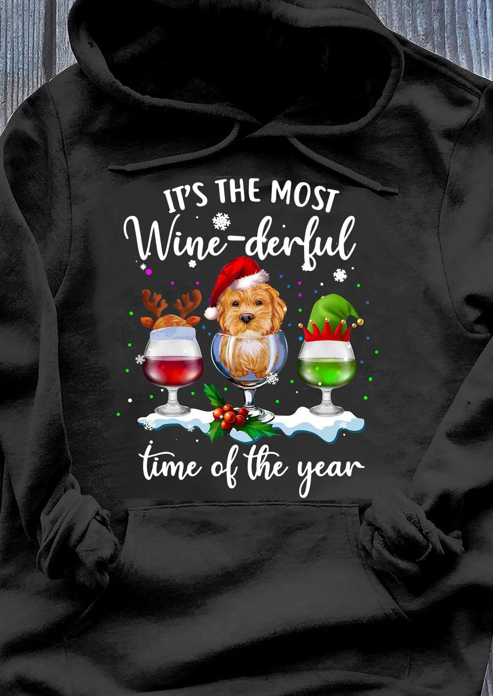 Santa Yorkie It's The Most Wine-Derful Time Of The Year Christmas Shirt Hoodie