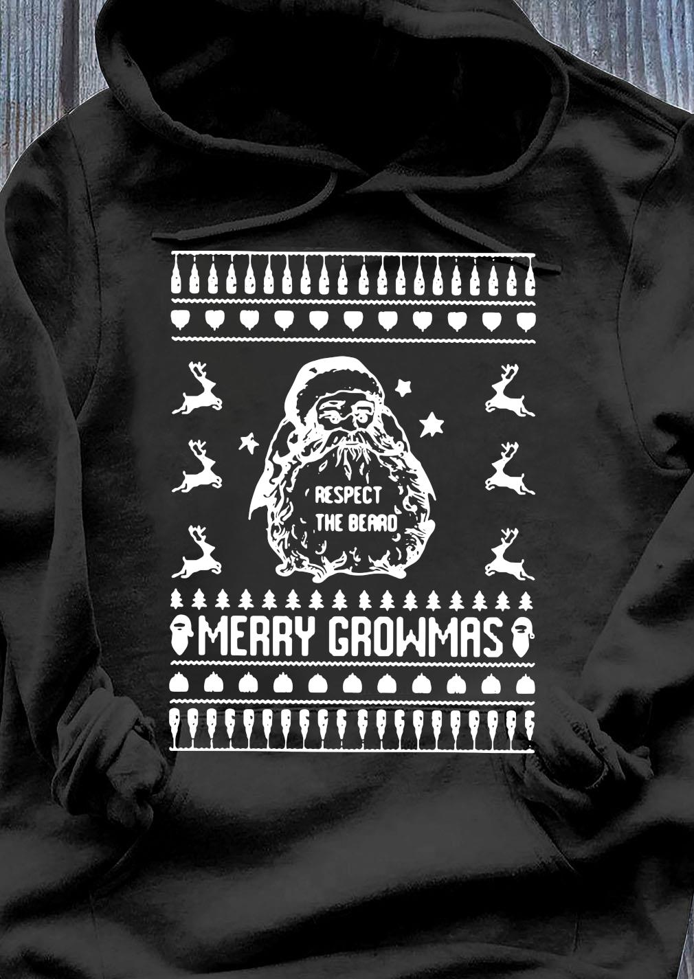 Sata Respect The Beard Ugly Merry Growmas Ugly Sweats Hoodie