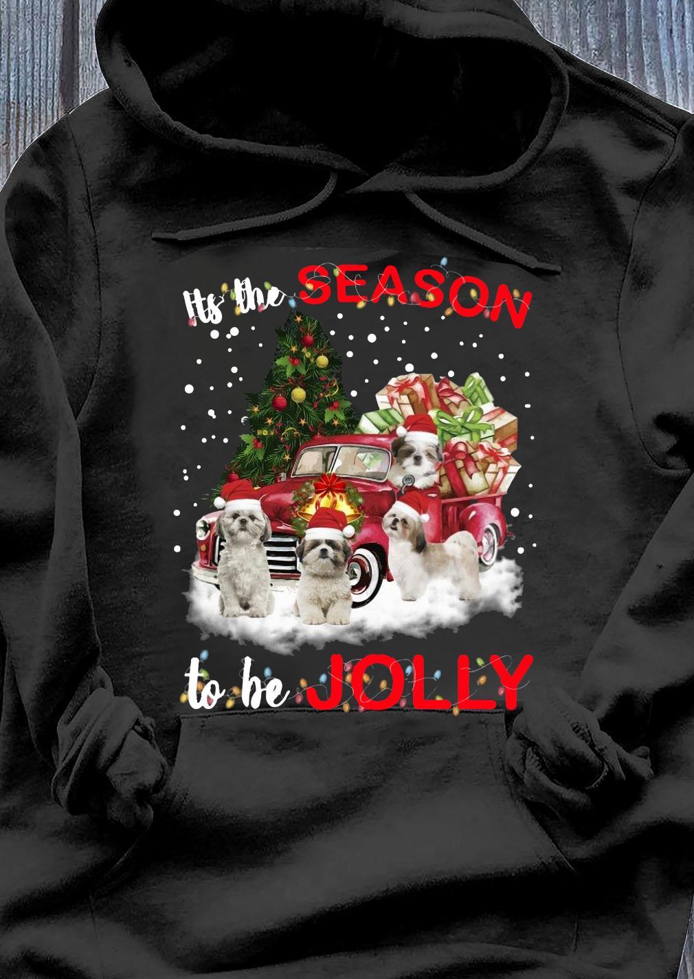 Shih Tzu Its The Season To Be Jolly Crewneck Sweats Hoodie