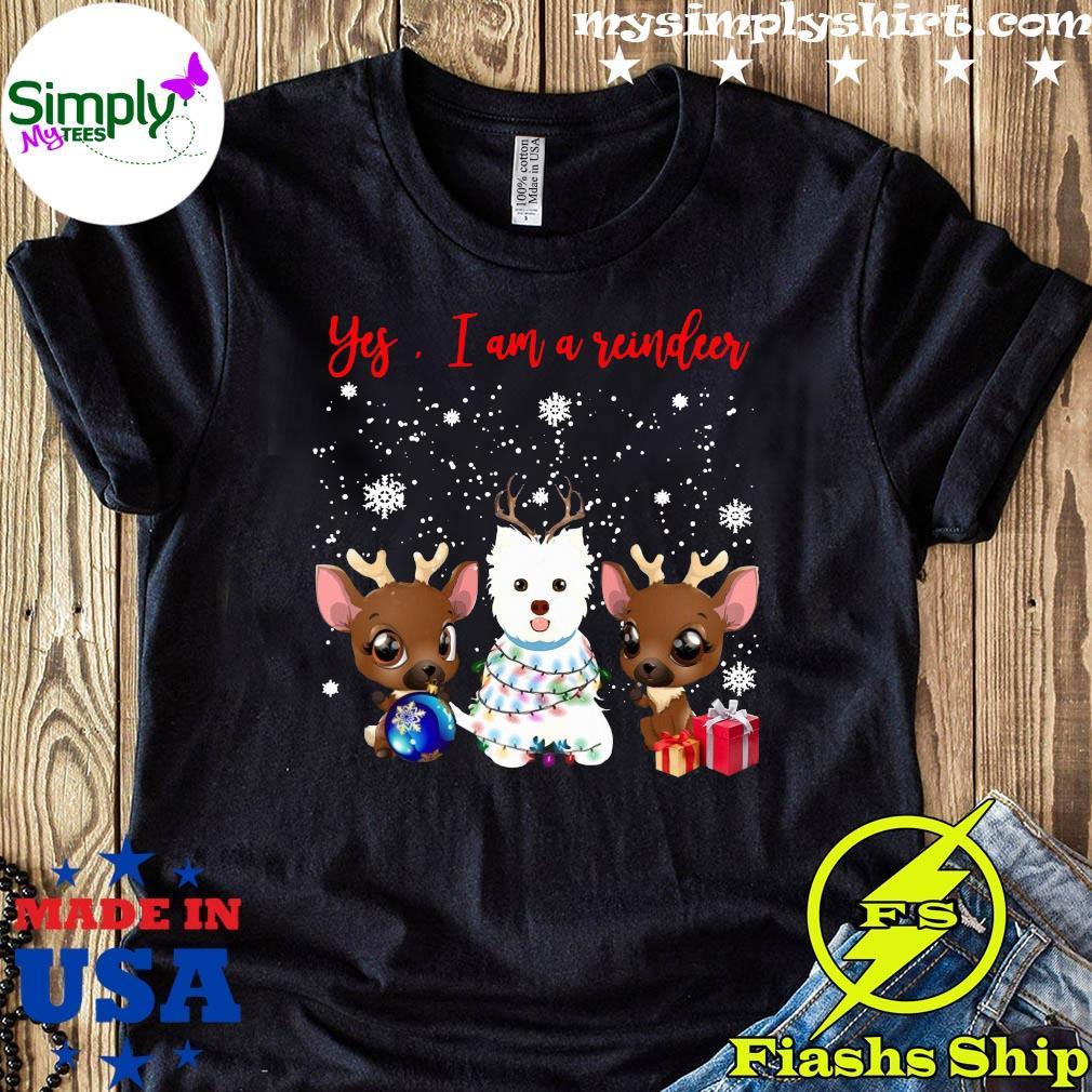 West Highland White Terrier Yes Im A Reindeer Crewneck Sweatshirt