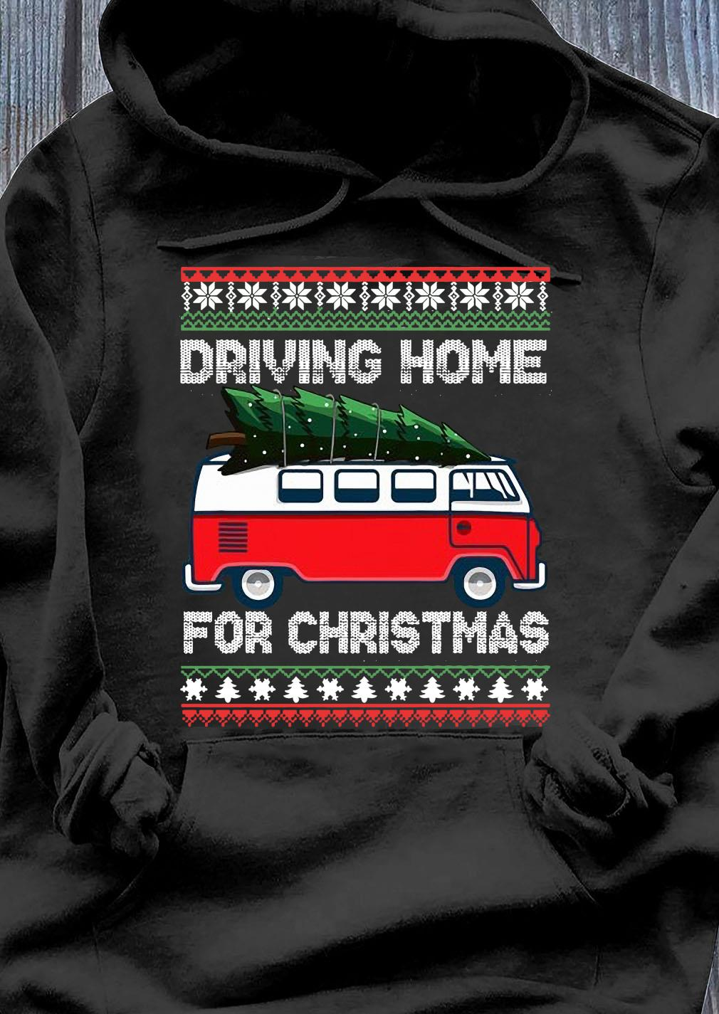 Christmas Tree On Car Van Xmas Ugly Sweater Pullover Look Shirt Hoodie