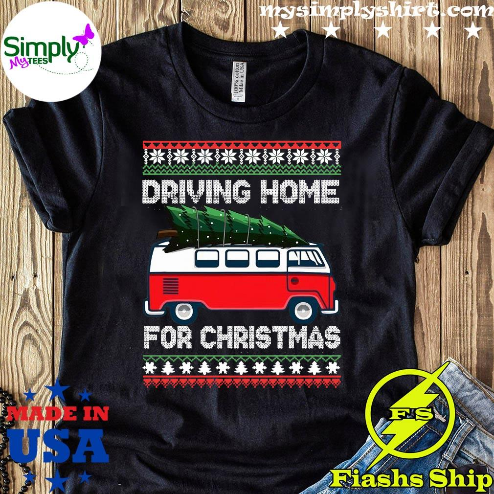 Christmas Tree On Car Van Xmas Ugly Sweater Pullover Look Shirt