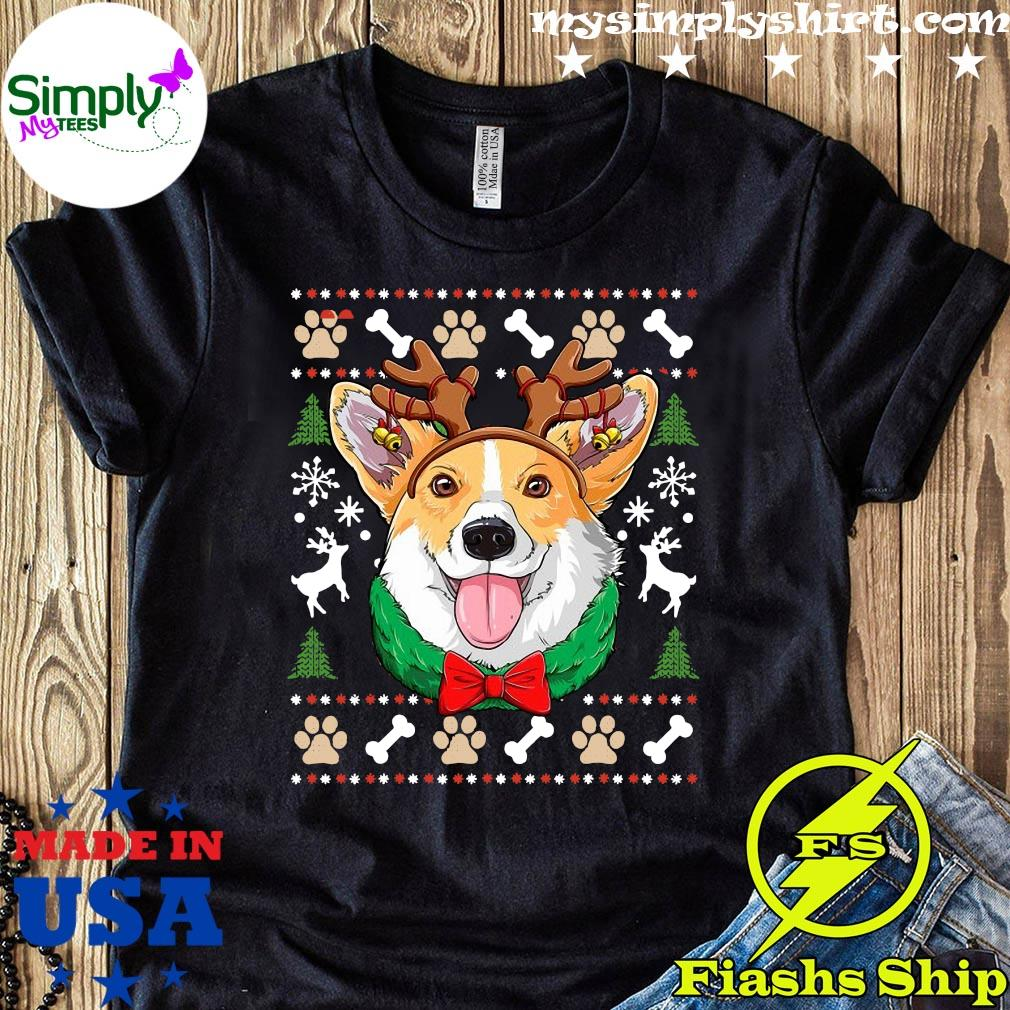 Corgi Ugly Christmas Reindeer Antlers Xmas Girls Kids Dog Shirt
