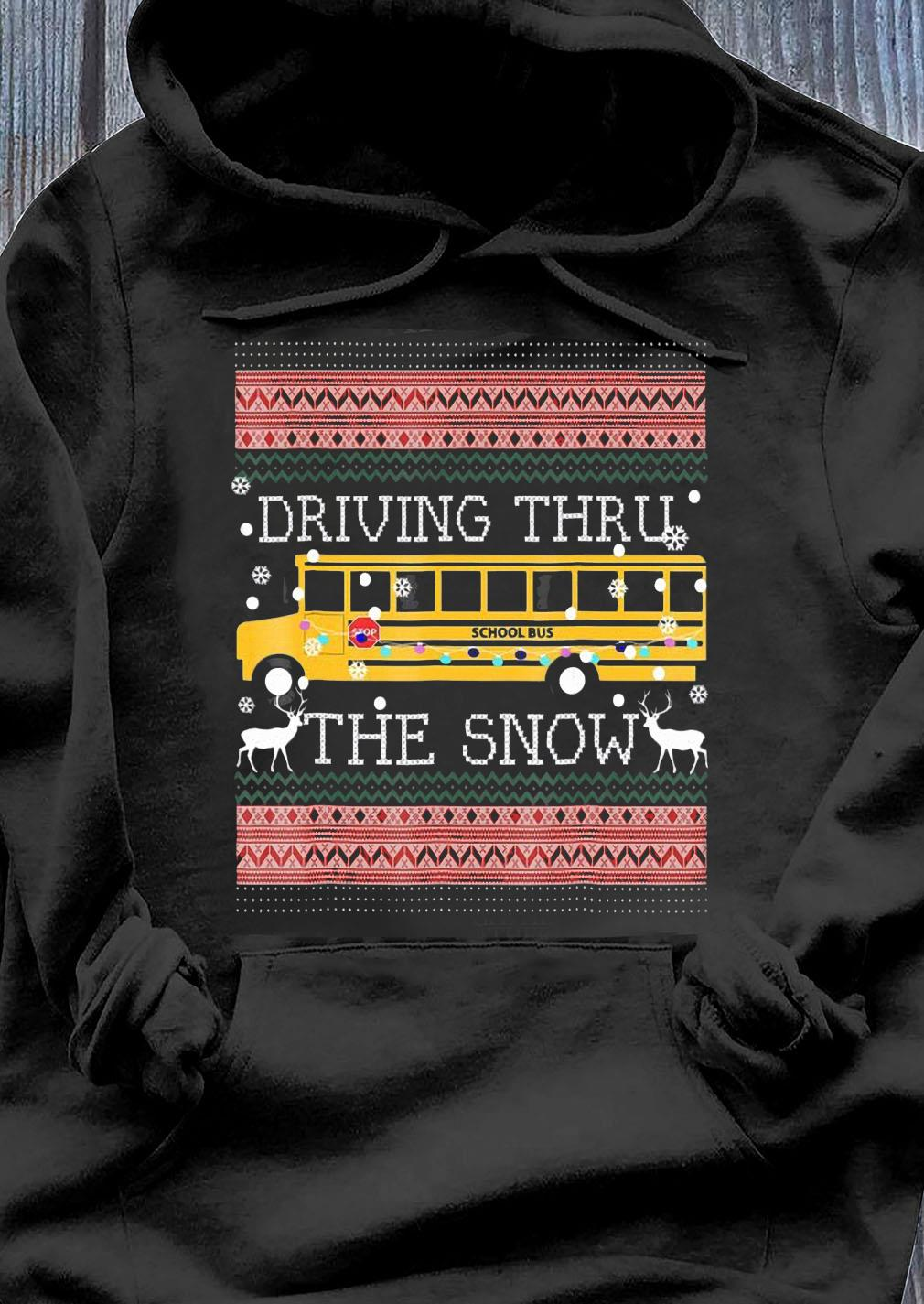 Driving Thru The Snow-School Bus Ugly Christmas Sweater Hoodie