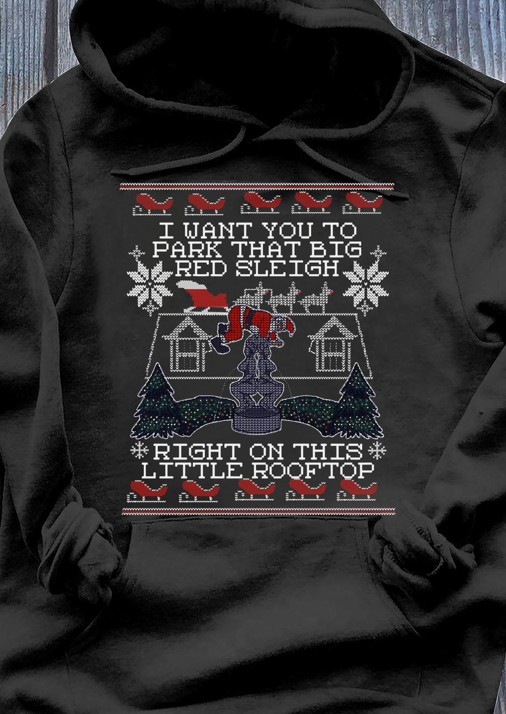 I Want You To Park That Big Red Sleigh Right On This Little Rooftop Ugly Christmas Sweats Hoodie