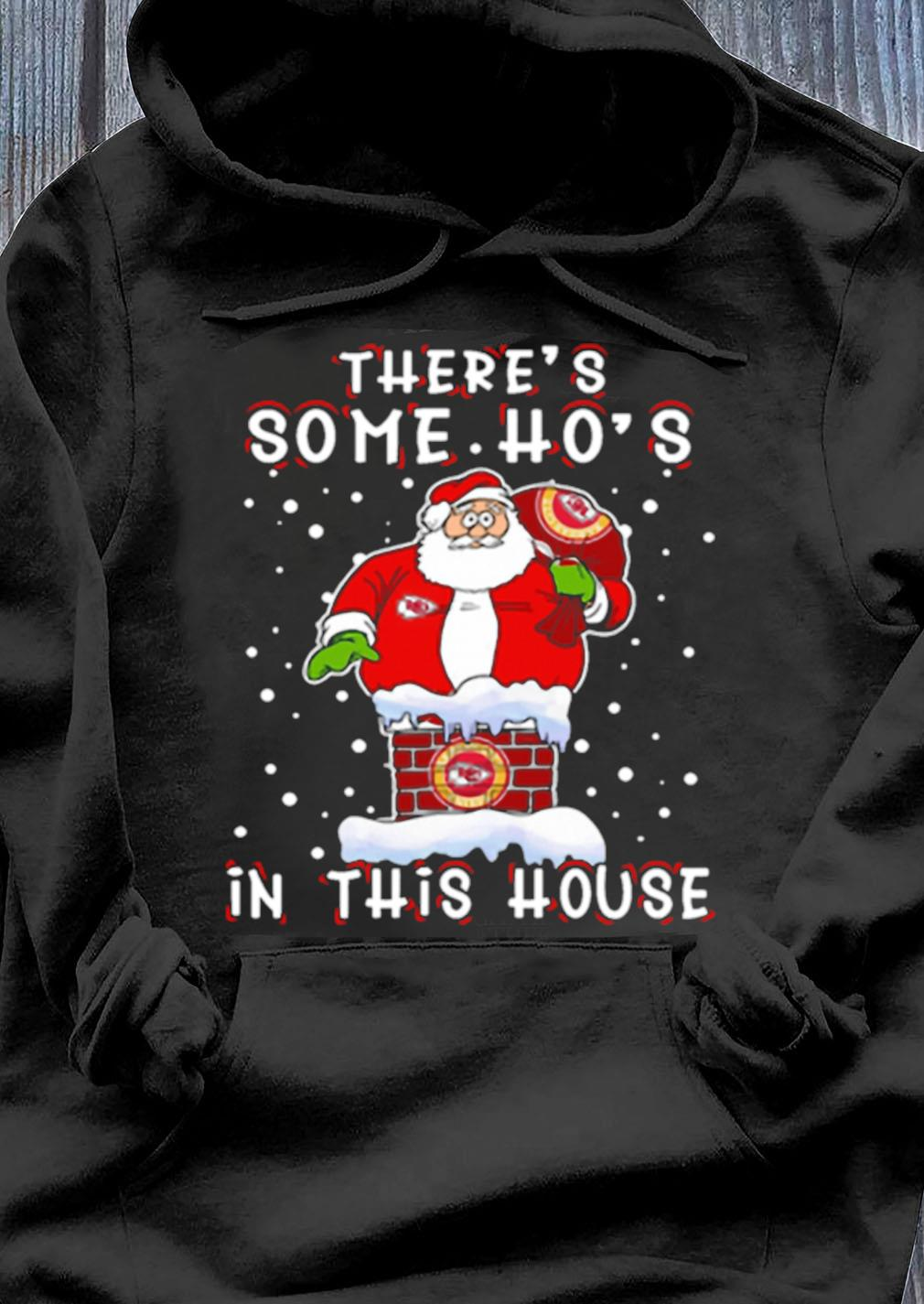 Kansas City Chiefs Christmas There Is Some Hos In This House Santa Stuck In The Chimney Nfl Youth Shirt Hoodie