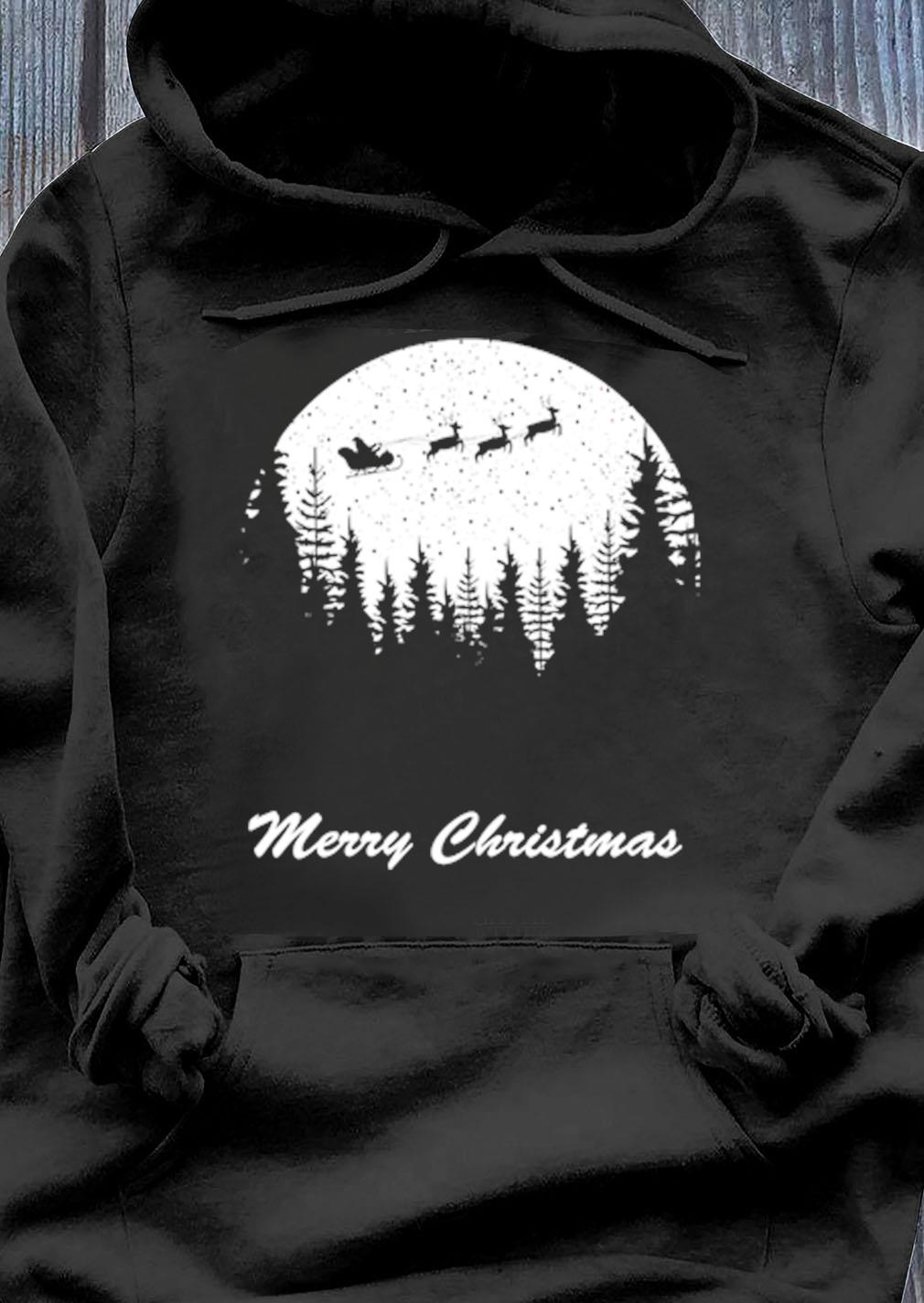 Merry Christmas Moon Santa Shirt Hoodie