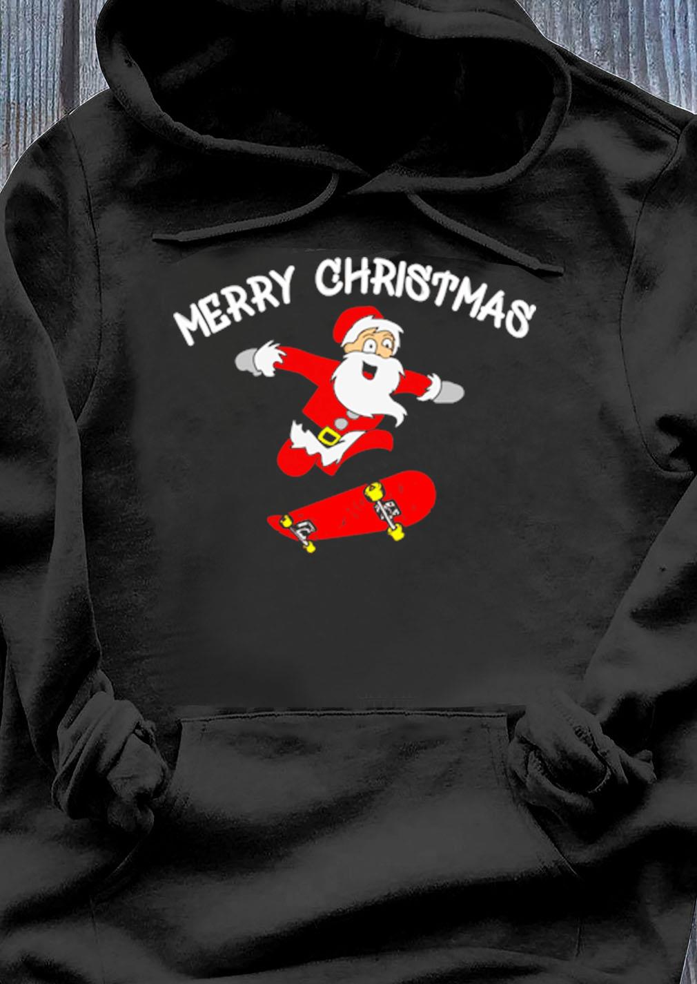 Santa Claus Skateboard Merry Christmas Sweater Hoodie