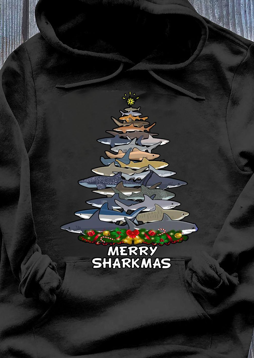 Sharks Merry Sharkmas Tree Christmas Shirt Hoodie