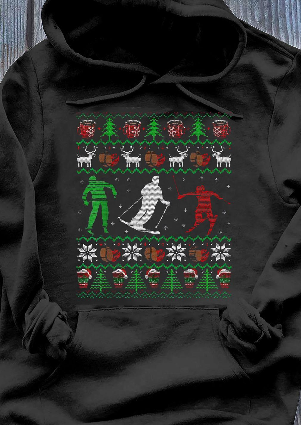 Skiing Coffee Ugly Christmas Sweater Men Women Funny Shirt Hoodie