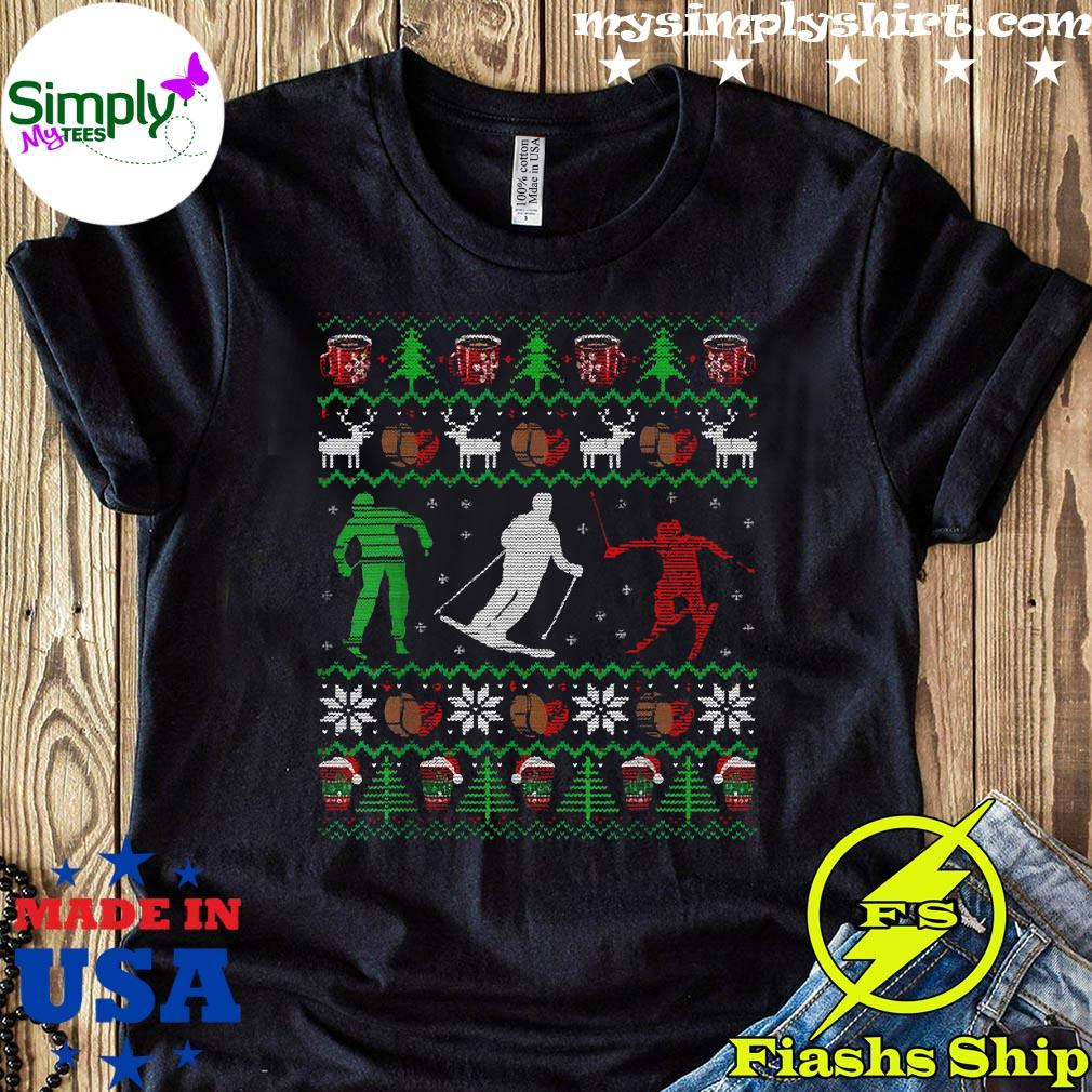 Skiing Coffee Ugly Christmas Sweater Men Women Funny Shirt