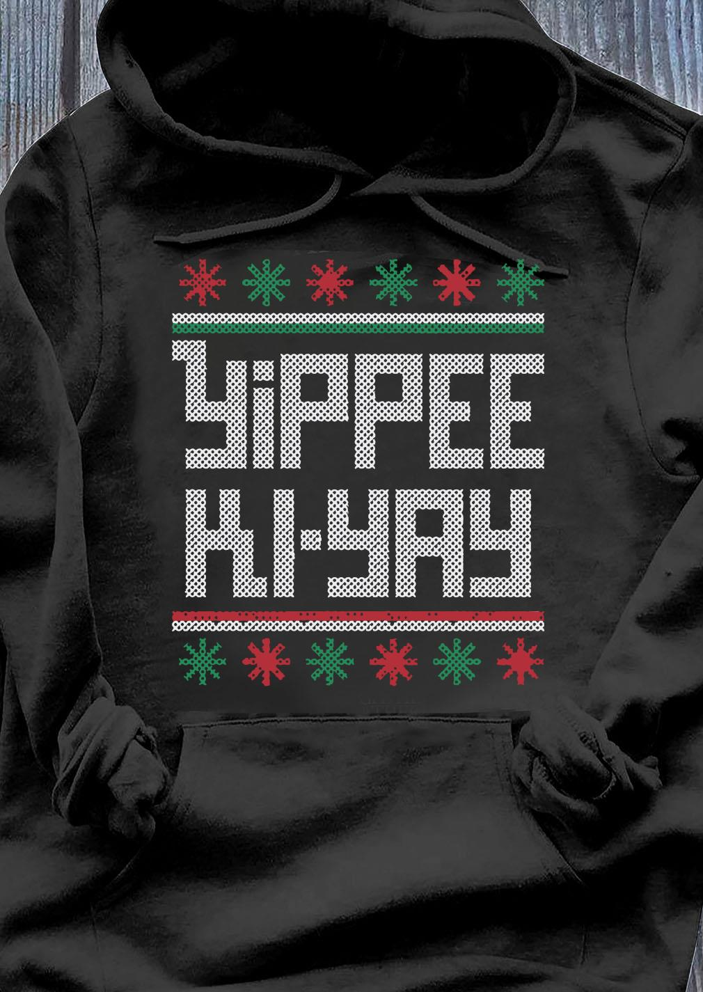 Yippee-Ki-Yay Funny Christmas Cross Stitch Pullover Shirt Hoodie